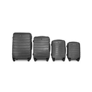Комплект чемоданов Fly 1107 | пластиковый | темно-серый