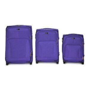 Комплект чемоданов Fly 1509-2k | тканевый | фиолетовый
