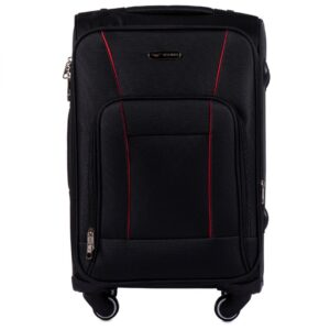 Маленький чемодан (S) Wings 1609-4k | тканевый | черный | 54х37х24(+5) см | 37/45 л | 3,25 кг