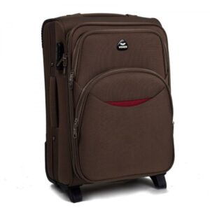 Маленький чемодан (S) Wings 1708-2k | тканевый | коричневый | 52х36х23(+5) см | 37/45 л | 3,05 кг
