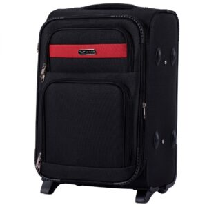 Маленький чемодан (S) Wings 1605-2k | тканевый | черный | 52х36х23(+5) см | 37/45 л | 3,05 кг