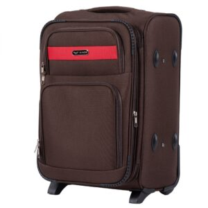 Маленький чемодан (S) Wings 1605-2k | тканевый | коричневый | 52х36х23(+5) см | 37/45 л | 3,05 кг