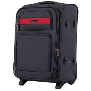 Маленький чемодан (S) Wings 1605-2k | тканевый | темно-серый | 52х36х23(+5) см | 37/45 л | 3,05 кг