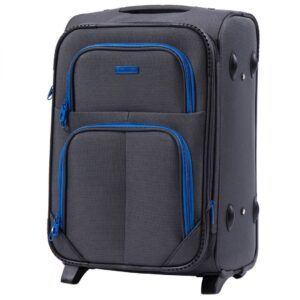 Маленький чемодан (S) Wings 214-2k | тканевый | темно-серый | 52х36х23(+5) см | 37/45 л | 3,05 кг