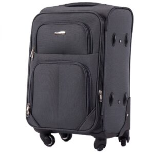 Маленький чемодан (S) Wings 214-4k | тканевый | темно-серый | 54х37х24(+5) см | 37/45 л | 3,25 кг
