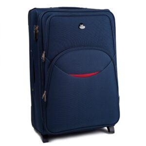Большой чемодан (L) Wings 1708-2k | тканевый | темно-синий | 71x46x31(+5) см | 88/104 л | 4,05 кг