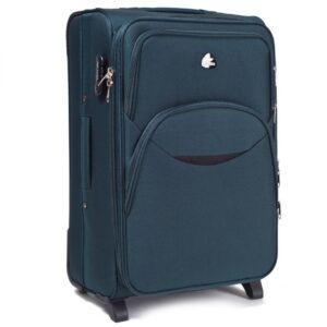 Большой чемодан (L) Wings 1708-2k | тканевый | темно-зеленый | 71x46x31(+5) см | 88/104 л | 4,05 кг