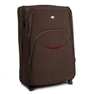 Большой чемодан (L) Wings 1708-2k | тканевый | коричневый | 71x46x31(+5) см | 88/104 л | 4,05 кг