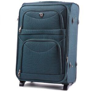 Большой чемодан (L) Wings 6802-2k | тканевый | темно-зеленый | 71x46x31(+5) см | 88/104 л | 4,05 кг