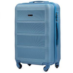 Большой чемодан (L) Wings K-203 | пластиковый | серебристо-синий | 74x50x29 см | 86 л | 3,95 кг