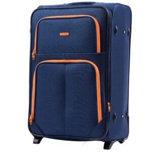 Большой чемодан (L) Wings 214-2k | тканевый | темно-синий | 71x46x31(+5) см | 88/104 л | 4,05 кг