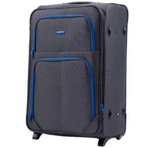 Большой чемодан (L) Wings 214-2k | тканевый | темно-серый | 71x46x31(+5) см | 88/104 л | 4,05 кг