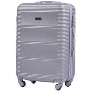 Средний чемодан (M) Wings K-203 | пластиковый | серебряный | 64x44x26 см | 62 л | 3,15 кг