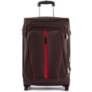 Большой чемодан (L) Wings 1706-2k | тканевый | коричневый | 71x46x31(+5) см | 88/104 л | 4,05 кг