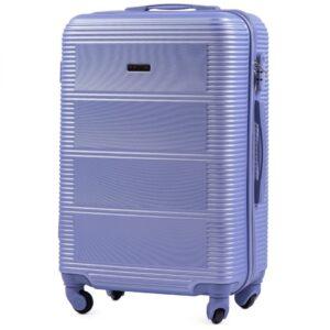 Большой чемодан (L) Wings K-203 | пластиковый | серебрито-фиолетовый | 74x50x29 см | 86 л | 3,95 кг