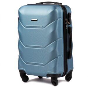 Маленький чемодан (S) Wings 147 | пластиковый | серебристо-синий | 55x40x20 см | 35 л | 2,6 кг