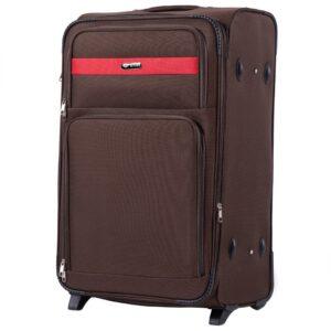Большой чемодан (L) Wings 1605-2k | тканевый | коричневый | 71x46x31(+5) см | 88/104 л | 4,05 кг