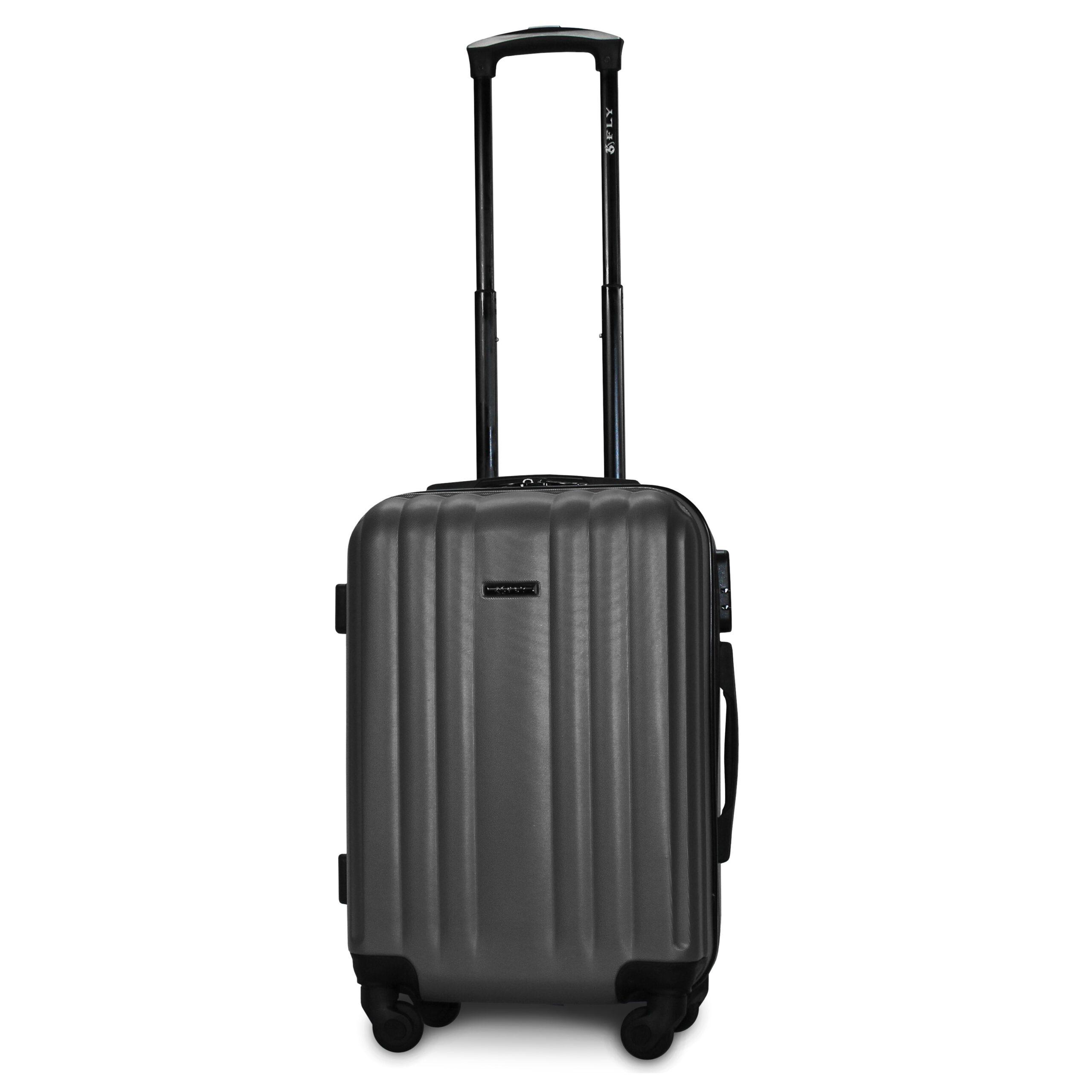 Маленький чемодан (S) Fly 614 | пластиковый | темно-серый | 55x40x20 см | 35 л | 2,6 кг