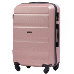 Средний чемодан (M) Wings AT01 | пластиковый | розово-золотой | 64x44x26 см | 62 л | 3,15 кг