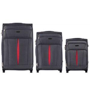 Комплект чемоданов на 2 колесах | Wings 1601-2k | тканевый